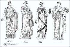 Roman women - hairstyles and dress. A Roman lady was dressed in plaited braids and worn at the back of the head and dress. See how Roman woman wore their stola. Ancient Rome, Ancient Greece, Ancient History, Ancient Roman Clothing, Roman Dress, Roman Clothes, Roman Curtains, Roman Era, Roman Fashion
