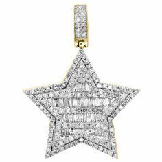 "10K Yellow Gold Baguette Diamond Super Star Pendant 1.25"" Statement Charm 3/4 CT | eBay Bridal Earrings, Bridal Jewelry, Gold Jewelry, Gold Chain With Pendant, Star Pendant, Best Boyfriend Gifts, Fashion Vocabulary, Gemstone Engagement Rings, Super Star"