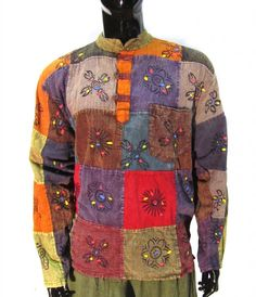Stonewashed Grandad Festival Shirt With Patchwork Colourful Hippie Clothing Boho Hippie Men, Hippie Shirt, Hippie Tops, Hippie Style, Festival Shirts, Winter Hippie, Hippie Outfits, Cotton Style, Hoodie Jacket