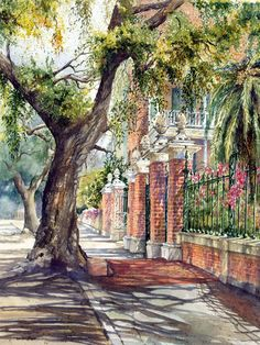 """""""Pineapple Gates House"""" watercolor by Sandra W. Roper This home is located at 14 Legare St. Charleston. The home was built in 1800 by Francis Simmons - a plantation owner. It was later purchased by George. Edwards who added the pineapple gates, the decorative iron work and the massive columns. It is know as the """"Pineapple Gates House""""."""