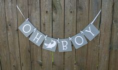 Oh Boy Banner with Shark - (Baby Boy, Baby Shower, Welcome Baby, Nautical Banner, Nautical Theme, Baby Shower Banner, Beach Theme)