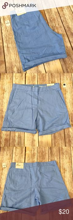 """NWT Gap Boyfriend Roll Up Linen Shorts Brand new with tags Gap """"Boyfriend Roll-Up"""" shorts in size 8. Approximate 8"""" inseam with Shorts unrolled. Medium blue, chambray look Shorts. Made of 51% Linen and 49% cotton.  No trades or holds. I negotiate only through the offer button. Any measurements listed are approximate since I am not a seamstress. HB GAP Shorts"""