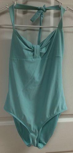 Calvin Klein Swim Wear Light Aqua Blue Halter One Piece Swimsuit Size 4 Bathing  #CalvinKlein #OnePiece
