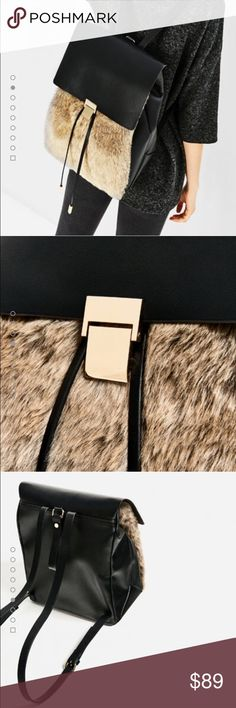 🆕Zara contrasting fur backpack Brand new with tags🙌🏻 sold out everywhere, amazing backpack 🙀😍 Zara Bags Backpacks
