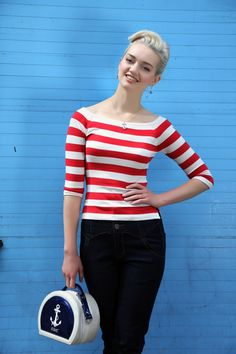 Collectif Clothing - 50s Marina Jumper in Red - cool jumper, but check that adorable little bag!! Love it!