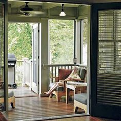 planning a possible screened in porch. i like how there's a little open balcony passed the actual screened in area. ours would be on the second level so a little balcony would allow access to the front screen for any repairing needs.