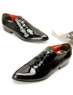 Fashion Black Patent Cow Leather Thread Pointed Toe Men's Dress Shoes - Milanoo.com