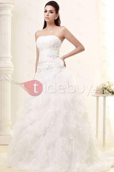 Aラインストラップレス床までの長さチャペルティアードウェディングドレス