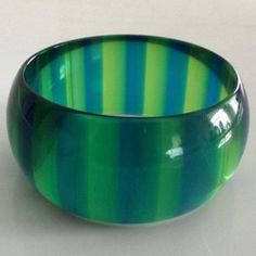 1960s Blue and Green Striped Lucite Bangle Bracelet from retrodreams on Ruby Lane