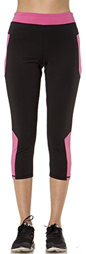 2116 Stay Cool Womens Capri with Color Inserts and Media Pocket in BlackPink Size M * Details can be found by clicking on the image.