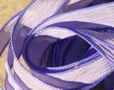 LAVENDER Silk Strings Ribbons Hand Dyed Sewn 5 Pastel Violet Purple, Great for Silk Necklace Ties or Silk Wraps