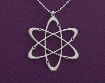 Collana di diamanti - collana collana-scienza di carbonio atomo - argento