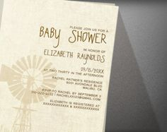 Rustic Windmill Baby Shower Invitation