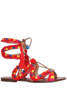 SCHUTZ - 10MM POMPOM EMBROIDERED LEATHER SANDALS - RED