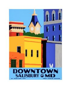 """Downtown Salisbury"" (2011) original hand-pulled silkscreen print by Erick Sahler Serigraphs"