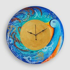 Fury Of A Peacock Wall Clock Hand-Painted | #simple #Clocks&Timepieces #Decor #simple, #Clocks&Timepieces, #Decor,