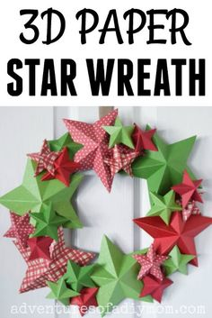 Learn to make a star wreath. This project is very inexpensive and the three dimensional stars make it pop. Christmas Giveaways, Christmas Wreaths, Christmas Crafts, Christmas Ideas, 3d Paper Star, Paper Stars, Diy Craft Projects, Diy Crafts, Craft Ideas