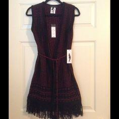 *NWT* BCBG Tribal Print Vest (M) *NWT* BCBG Tribal Print Vest. Size medium. Brand new with tags. Maroon & black. BCBGMaxAzria Sweaters Cardigans