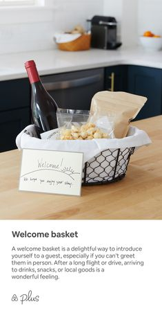 A welcome basket is a delightful way to introduce yourself to a guest, especially if you can't greet them in person. After a long flight or drive, arriving to drinks, snacks, or local goods is a wonderful feeling. Guest Welcome Baskets, Guest Room Baskets, Guest Basket, Guest Room Decor, Restaurant Hotel, Guest Room Essentials, Airbnb Design, Airbnb House, Airbnb Rentals
