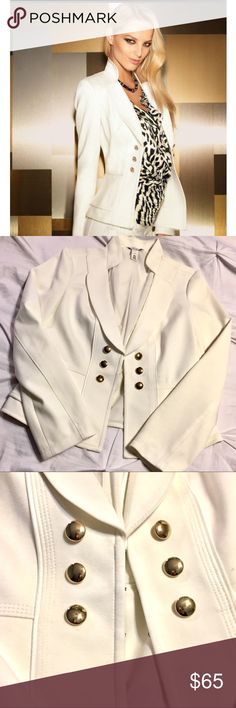 NWOT WHBM Military Style White Blazer Sz 6 NWOT White House black market military style Peplum blazer with gold button front. High neck and structured lines. Fully lined. Size 6. White House Black Market Jackets & Coats Blazers