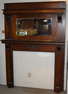 Antique Victorian Walnut Fireplace Mantle w Mirror
