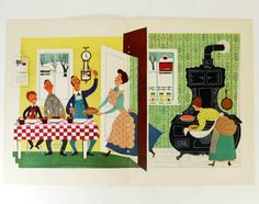 PIE TIME Kitchen Print, 1940s Dessert Print, Wall Decor, Provensen, Wall Art Illustration Frame, Home Decor, Cooking Print, yellow green by HucksterHaven on Etsy https://www.etsy.com/listing/167883107/pie-time-kitchen-print-1940s-dessert