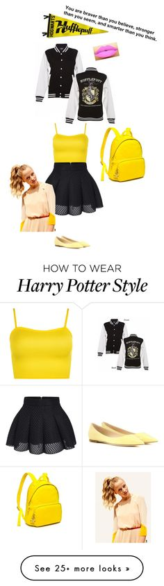 """""""Hogwarts Color War(Hufflepuff)"""" by flyawayangel337 on Polyvore featuring WearAll, Tommy Hilfiger, Jimmy Choo and Hershesons"""
