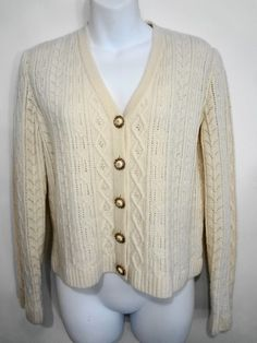 St John Collection Marie Gray Womens 4 Ivory Off-White 5 Button Cardigan Sweater #StJohn #Cardigan