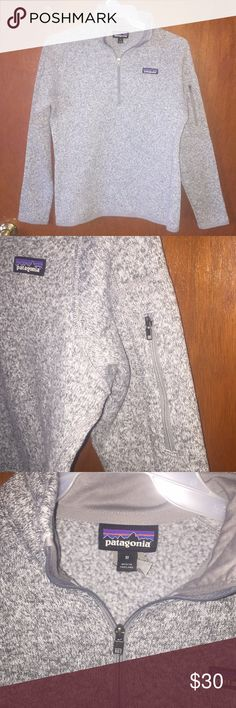 Patagonia Quarter Zip Grey speckled sweater in great condition! No flaws, super warm!! I wanna say it runs maybeeee a tad small, I'm typically a medium/large and it's a little too tight for my liking, but the style is supposed to be a little more fitting. Patagonia Sweaters