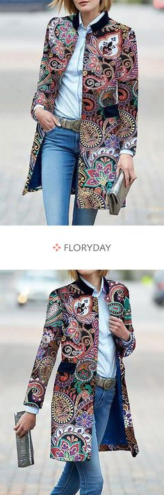 Coats with long sleeves, stand-up collar and pockets - Floryday Mäntel mit langen Ärmel, Stehkragen und Taschen Break out of the crowd with this coat. Irish Fashion, African Fashion, Boho Fashion, Fashion Dresses, Womens Fashion, Fashion Black, Fashion Tips, Halloween Tops For Women, Mode Outfits