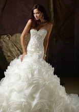 Elegant Sweetheart Beaded Organza Chapel Mermaid Wedding Dress Wedding Gown Custom-made Vestido de noiva Dresses