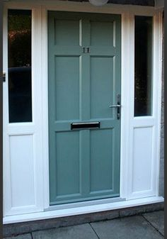 Front door in chartwell green with white upvc side panels for Upvc front doors for sale
