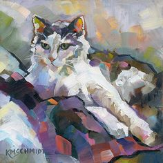 """SOLD       A Study in Ray and Purple © 2014 Karen Mathison Schmidt   6 x 6 • oil on 1/8"""" Gessobord TM    private collection • Seminole, F..."""
