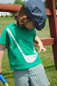 Green golf ball and club infant or toddler t by Onceuponastory, $23.00