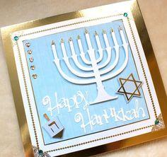 Happy Hanukkah Luxury Handmade Card - Folksy; love the shiny paper.