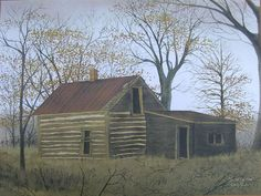 Billy Jacobs The Old Log House Primitive Print Art Unframed Country Pictures   eBay
