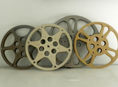 Vintage Film Movie Reels Cannister Large Metal Instant Collection Industrial Decor Six Pieces
