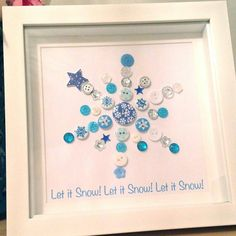 Christmas Snowflake Button Picture - Let it Snow - Decoration Xmas Gift Print Blue & Silver