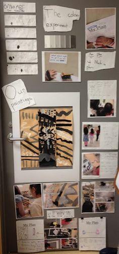 Documentation panel with children's work, photos, and children's handwritten text.