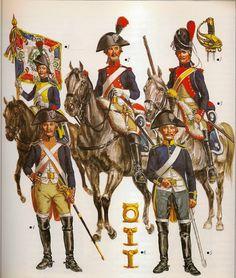 """FRANCE - Nº 1 .- Porta - estandarte del 11º Rgto. en 1794, el numero estaba escrito en cifras romanas doradas , y la divisa """"Discipline - obéissance - á la Loi """", en letras igualmente doradas. Nº 2 .- Caballero del 3º Rgto. de gala 1791. Nº 3 .- Carabinero del 1º Rgto. en traje de gala. Nº 4 .- 19º Rgto. en traje de servicio a pie . Nº 5 .- 10º Rgto. traje de diario a caballo, 1798. Nº 6 .- Adornos de montura, de inspiración republicana."""
