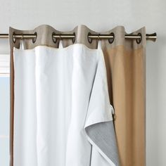 How to hang thermal liner or thick curtains with hole topped curtains - Joss & Main Essentials Solid Max Blackout Thermal Single Curtain Liner No Sew Curtains, Rod Pocket Curtains, Thermal Curtains, Grommet Curtains, Window Curtains, Bedroom Curtains, Shower Curtains, Diy Blackout Curtains, Curtains Walmart
