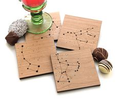Wood Coasters  Star Constellations  set of 4  by peppersprouts, $30.00
