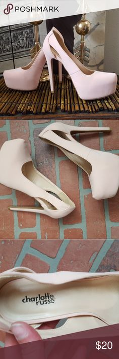Charlotte Russe heels Light pink Charlotte Russe heels with very little wear besides the soles.  Still tons of life left in these gorgeous heels!  Soft suedelike outer material. Charlotte Russe Shoes Heels