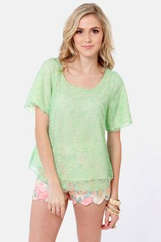 Pretty Lace Top - Mint Top - Short Sleeve Top