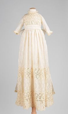 Child's Christening Dress  (American, c.1890). An off-white cotton fabric, with lace detail. ~ {cwlyons} ~ (Original image: The Met Museum, NYC)