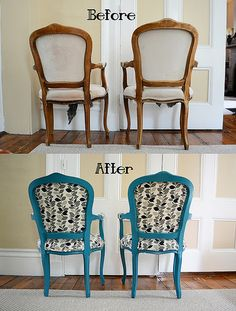 Craigslist DIY Chair Makeover- Painted, Glazed, and Upholstered- Back by CatEyedKP, via Flickr