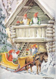 Santa in Sleigh with Elves, Erik Forsman Vintage Christmas Cards, Christmas Pictures, Vintage Cards, Vintage Postcards, Norwegian Christmas, Christmas Mood, Christmas Gnome, Scandinavian Art, Scandinavian Christmas