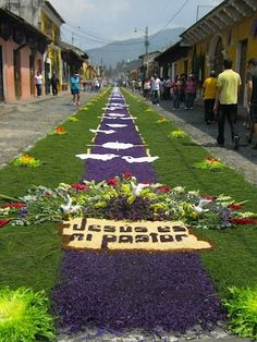 """Amazing photos of Guatemalan """"Alfombras"""" for Holy week made of colored sawdust, flowers or flower petals, pine needles, sand, rice, or even fruits or vegetables."""