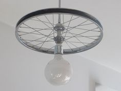 Bicycle wheel lamp upcycled repurposed suspension by ViaLucis