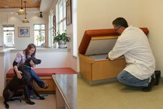 Specially designed bench seating throughout Anderson Veterinary Clinic in Anderson, Calif., offers the practice team under-seating storage. Reception Design, Reception Ideas, New Hospital, Vet Med, Hospital Design, Vet Clinics, Clinic Design, Veterinary Medicine, Wall Mounted Shelves